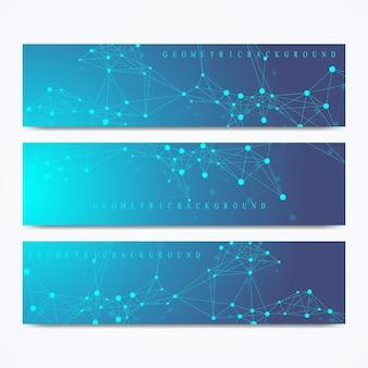 벡터 배너의 현대 세트입니다. 기하학적 추상 프레젠테이션입니다. 의학, 과학, 기술, 화학에 대한 분자 dna 및 통신 배경. 사이버네틱 도트. 라인 신경총.