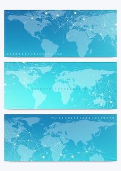 세계 지도와 벡터 배너의 현대 세트입니다. 기하학적 프리젠 테이션. 의학, 과학, 기술, 화학에 대한 분자 dna 및 통신 배경. 사이버네틱 도트. 라인 신경총. 카드 표면