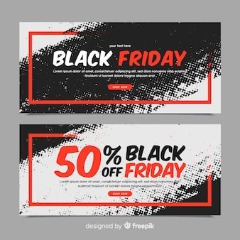 Modern set of watercolor black friday banners