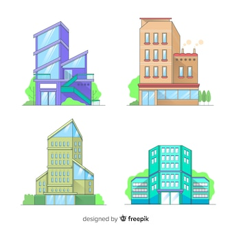 Modern set of office buildings with flat design