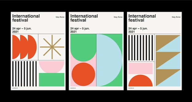 Modern set of poster templates with geometric design