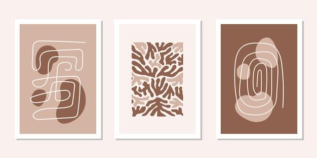 抽象的な茶色の有機的な形と線でモダンなセットのポスター