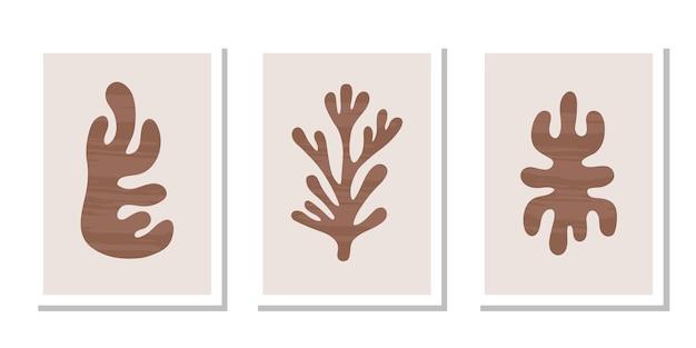 パステルカラーの背景に抽象的な茶色の有機テクスチャ形状のモダンなセットポスター
