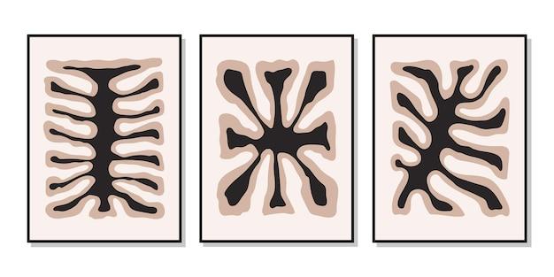 抽象的なカラフルな有機的な形のモダンなセットのポスター