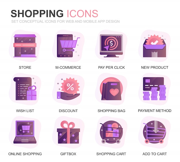 Modern set shopping and e-commerce gradient flat icons