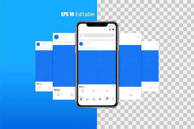 Modern set of social media photo, post frames