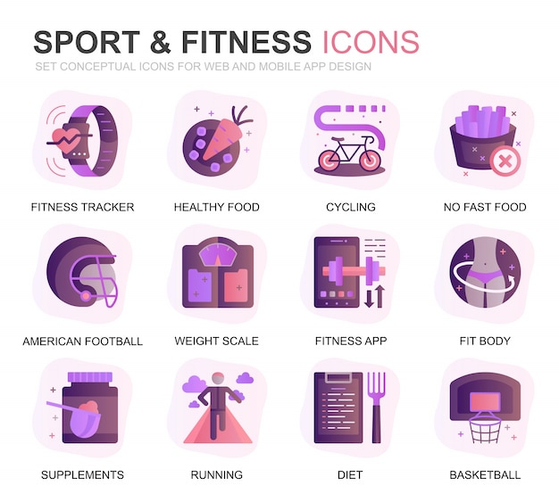 Modern set sport and fitness gradient flat icons