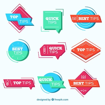 Modern set of tips labels with flat design