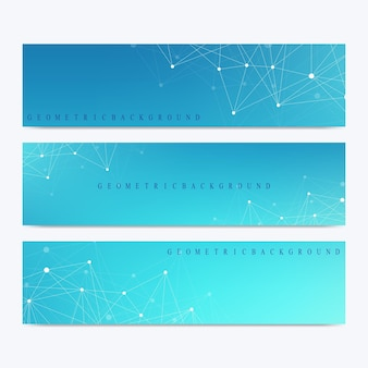 Modern set of vector banners geometric abstract presentation molecule dna and communication backgrou...