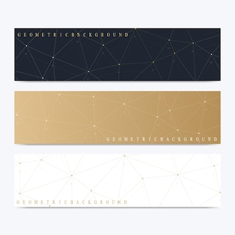 Modern set of vector banners. geometric abstract presentation. molecule dna and communication background for medicine, science, technology, chemistry. cybernetic dots. lines plexus.