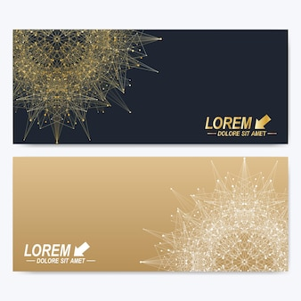 Modern set of vector banners. geometric abstract presentation with golden mandala. molecule and communication background for medicine, science, technology, chemistry. digital or science representation