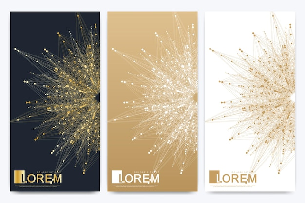Modern set of vector flyers. molecule and communication background. geometric abstract golden package. connected line with dots. golden design in trendy linear style.