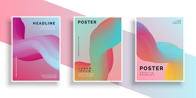 Modern set of vibrant poster design background