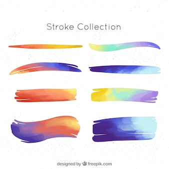 Modern set of watercolor strokes