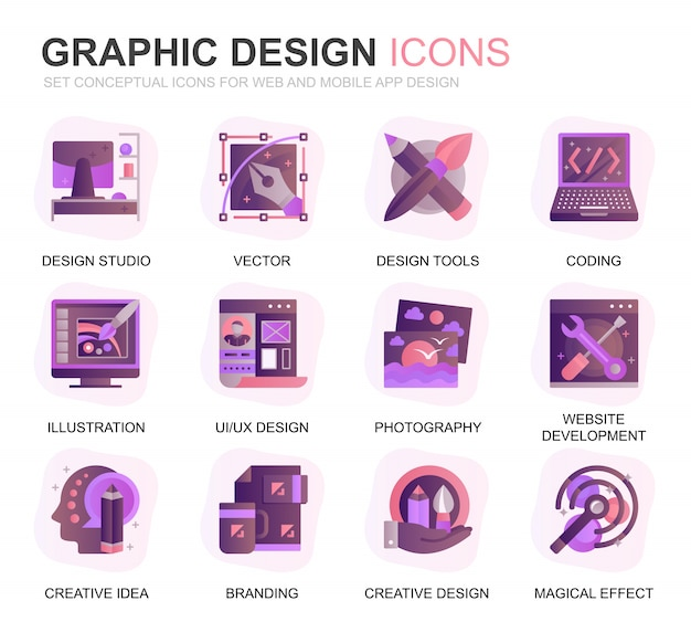 Modern set web and graphic design gradient flat icons
