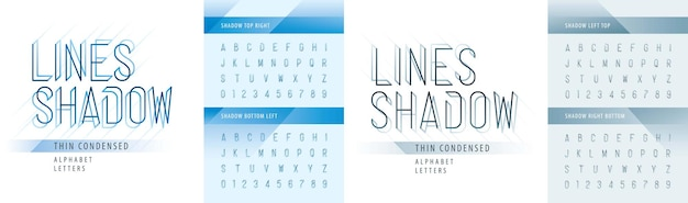 Modern shadow condensed alphabet letters and numbers