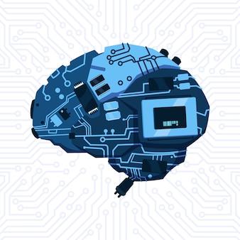회로 마더 보드 배경 위에 뇌 메커니즘의 현대 모양