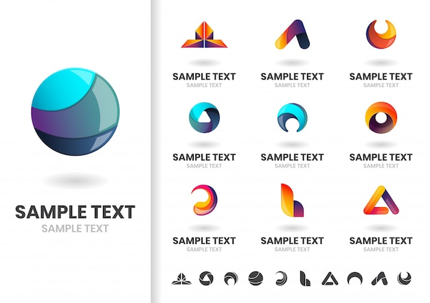 Modern shape vector logo or logotype template set
