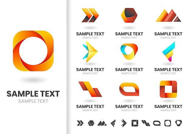 モダンな形状のベクトルのロゴまたはロゴタイプテンプレートセット