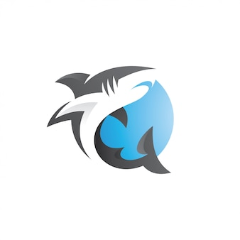 Modern shark fish logo