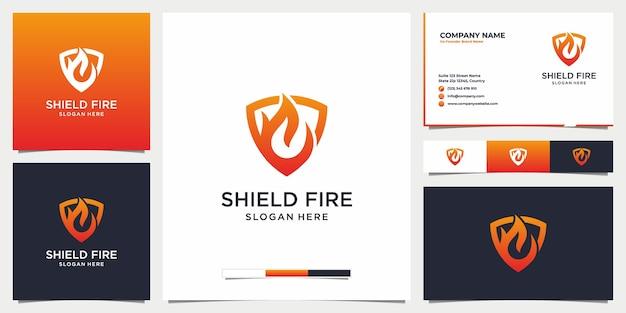 Modern shield fire logo and business card