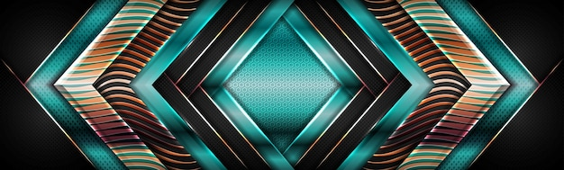 Modern shinny green geometric with golden overlap textured layer background