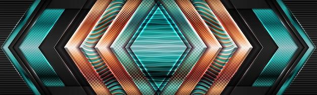 金色のオーバーラップテクスチャレイヤーの背景を持つ幾何学的なモダンなシニーグリーン