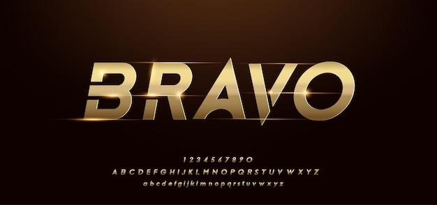 Modern shiny gold alphabet. futuristic typography fonts