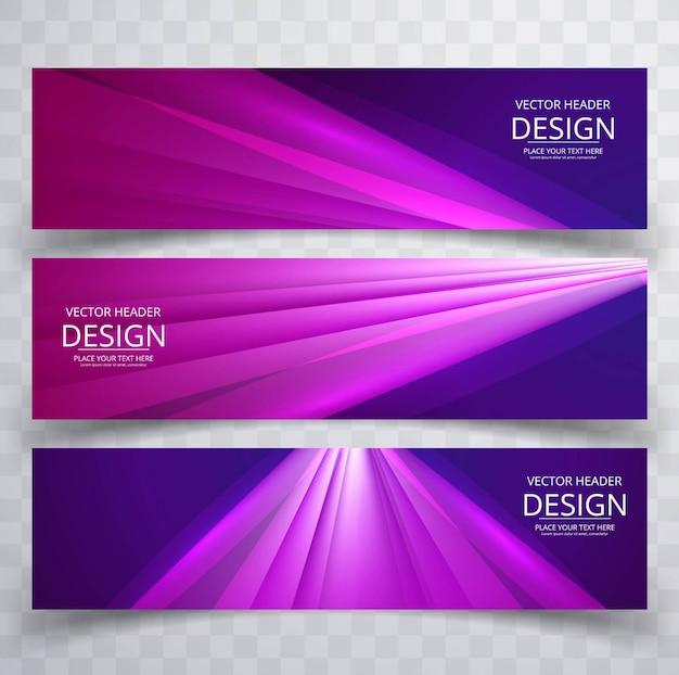 Modern shiny purple banners