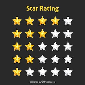 Modern shiny star rating design