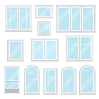 Modern shiny windows set isolated