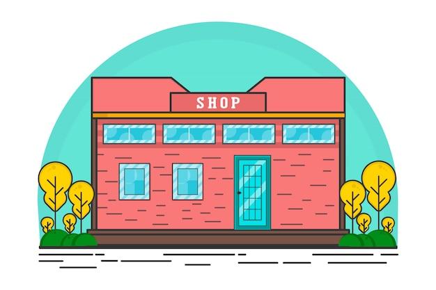 Modern shop flat illustration