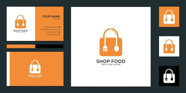 Modern shop food logo and business card
