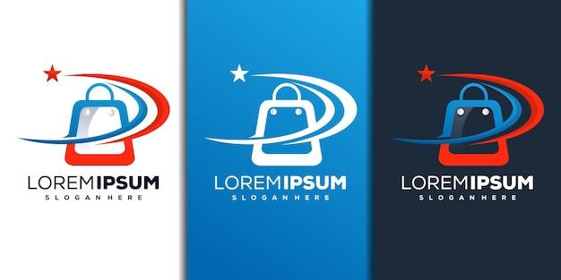 Modern shop and star logo design
