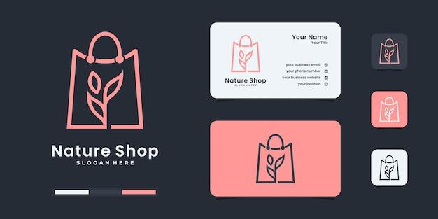 Modern shopping bag and green leaf logo design template.