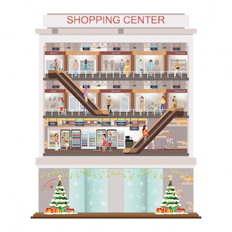 Modern shopping mall center decorated for christmas and new year holiday.