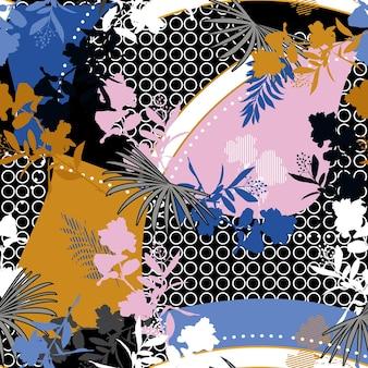幾何学的な円と線のオリエンタルスタイルのシームレスなパターンと混合されたモダンなシルエットの花と植物の花のパターン