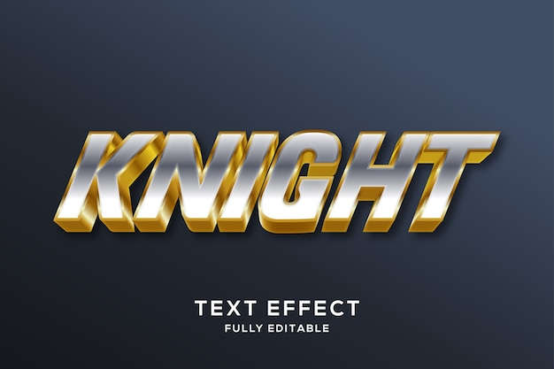 Современный серебряный и золотой текстовый эффект