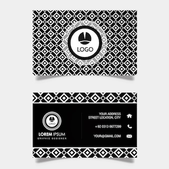 Modern Silver & Black Business Card