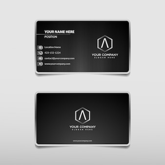 Modern silver black and white technology professional business card template