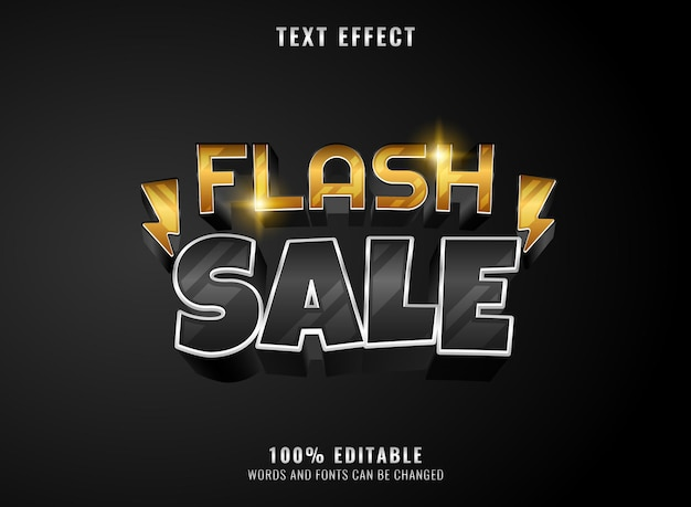 Modern silver gold flash sale template editable text effect