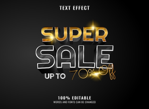 Modern silver gold glossy super sale editable text effect