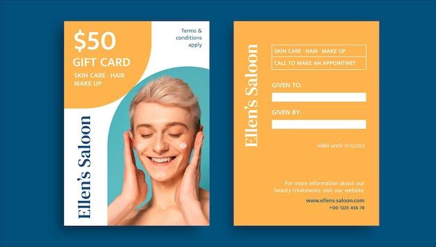 Modern simple beauty salon gift certificate