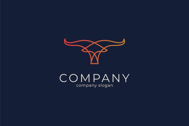 Modern simple bull vector icon logo template