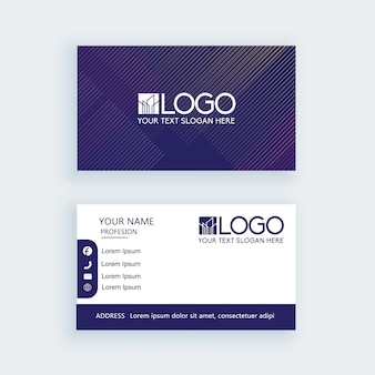 Modern simple business card stripe dark blue template or visiting card Premium Vector