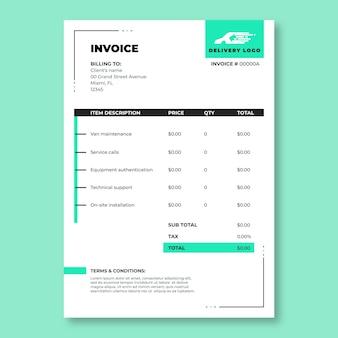 Modello di fattura per servizi di consegna semplice e moderno