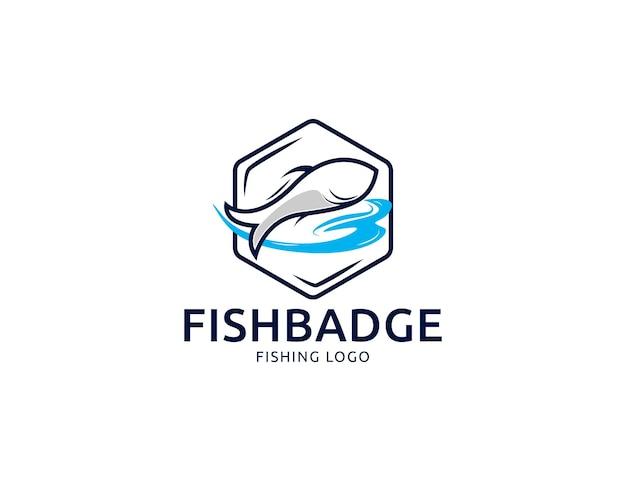 モダンでシンプルな釣り魚のロゴやシーフードのエンブレムデザイン