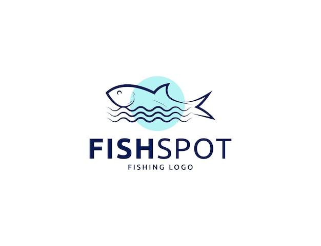 Modern simple fishing fish logo or seafood emblem design