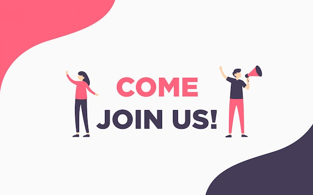 Modern simple hiring banner illustration