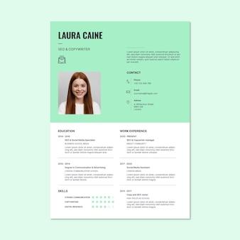 Moderna semplice laura copywriter e modello di curriculum pubblicitario seo